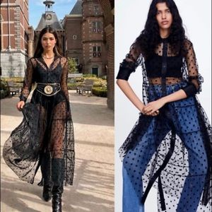 NWT Zara black sheer tulle dots shirt dress